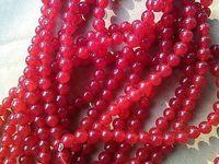 Wholesale 6mm red Jade Gemstone Round Loose Beads strand
