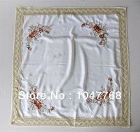 Wholesale New set spell elegant floral embroidery products sell like hot cakes lace table high grade polyester satin roses embroidered tablecloth line
