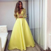 bamboo coral beads - Yellow A Line Evening Dresses V Neck Cap Long Sleeve With Lace Applique Beads Satin Floor Length Prom Gown New