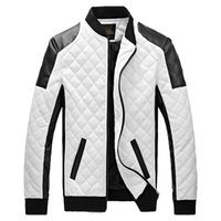 Wholesale 2016 New Design Men s Jacket Winter Autumn PU Leather Black White Fashion Slim Plaid Jacket For Man Drop Shipping