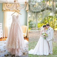 Wholesale 2016 Vintage Fall Blush Lace Wedding Dresses Sweetheart Appliqued Tulle Court Train Plus Size Bridal Gowns Custom Made