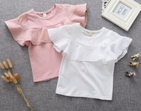 baby doll fashion tops - 2016 Summer New Children Girls Cotton T shirt Baby Flounce Short Sleeved T shirt Doll shirt Kids Lovely Tops Clothes BH2181