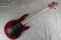 Music Man 5 cuerdas graves Erime Final rojo de la bola de la pastinaca de la guitarra eléctrica Arce Diapasón batería de 9V Activo Pastillas Negro golpeador
