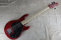 Wholesale Music Man Strings Bass Erime Ball StingRay Electric Guitar Red Finish Maple Fingerboard V Battery Active Pickups Black Pickguard