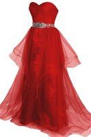 Wholesale Red Vestido De Festa Appliques Crystal Sequined Evening Dresses Tulle Sweetheart A Line Celebrity Party Dresses Vestido Longo