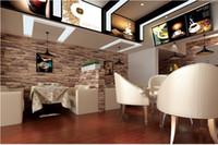 Wholesale 3D Luxury Wood Blocks Effect Brown Stone Brick M Vinyl Wallpaper Roll Living Room Background Wall Decor Art Wall Paper