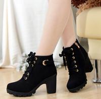 venda por atacado botas curtas-2016 New Outono e Moda Feminina Inverno de salto alto botas curtas Correias Cruz Botas áspero salto Martin botas femininas botas de couro