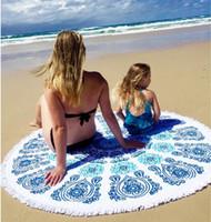 beach bath decor - Scarf Fashion Types Cotton Round Beach Pool Towel cm Bath Towel Tassel Decor Geometric Printed Bath Towel Summer Style