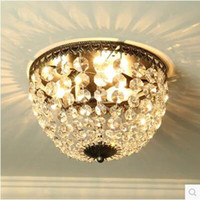 antique semi mounts - Round crystal American suction dome light European antique gold bedroom dining room lighting