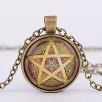 acrylic monogram necklace - Retro fashion Monogram alloy pendant totem Pentagram Cabochon glass time gem necklace fashion necklace for women