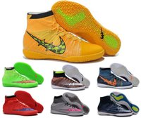 Wholesale New arrivals boys sports shoes for sale indoor soccer shoes men outdoor sneakers high ankle running shoes superfly IC indoor football shoes