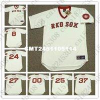 Wholesale Retro CARLTON FISK DWIGHT EVANS Baseball jersey TONY CONIGLIARO CARL YASTRZEMSKI BILL LEE jersey Mens White Stitched jerseys