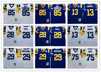 Wholesale Throwback Eric Dickerson Marshall Faulk Kurt Warner Deacon Jones Jack Youngblood San Louis Football Jerseys White Blue