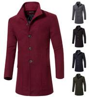 Men s woolen coat Preços-Moda Trench Coat dos homens à moda, revestimento do inverno, magro Brasão Abotoamento homens meados de comprimento, casaco de lã Casacos M-XXL