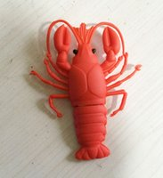 Wholesale 5 Piece PVC Big Lobster USB Flash Drives Brand New Cartoon Lobster U Disk USB2