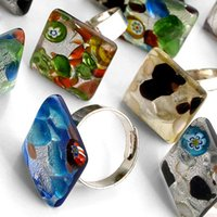 Wholesale Hot Square Multi Color Silver Foil Lampwork Glass Murano Adjustable Metal Rings New Hot Fashion Murano Rings