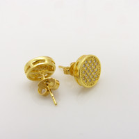 Wholesale Micro Paved Crystal k Yellow Gold Filled Round Stud Earring
