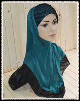 Wholesale M031 Big size length to waist Women Prayer Hijabs Lace Beaded ITY per dozen Muslim female caps New style Muslim Jilbabs