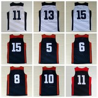 baskets red - Men Dream Team USA Basketball Jerseys American Sports Basket ball Pallacanestro With Player Name Team Logo