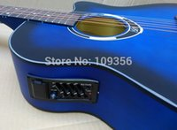 acoustic guitar paintings - matte painting blue color electric acoustic guitar inch with free string