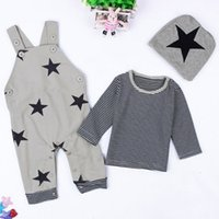 baby kitting clothes - Autumn Spring Baby Boy Set Clothing Fashion Star Hat Striped Cotton T Shirts Top Tee Sling Trouser Pant Piece For Kid Toddler Costume Kit