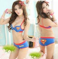 Wholesale 2016 New Superman super man push up bra underwear women bra Briefs sets For