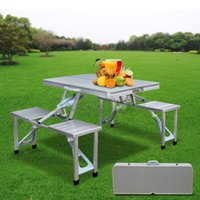 Wholesale Folding Aluminum Picnic Table Silver New Outdoor Portable Seats Bench Family car Camping Case