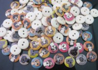 Wholesale 100Pcs Natural Cat Printed Wooden Decorative Buttons mm Holes Wood Buttons Fit Sewing or Scrapbooking M64408