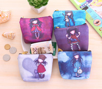 Wholesale 2016 New Arrivals Women Lady Coin Bags Purses Wallets Small Handbag Canvas Zip Cute Girls Printing wallet Coin Purses A0134