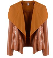 Wholesale Women Leisure Tops Jacket Female Lapel Blazer PU Leather Punk Zipper Coat european outwears