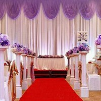 backdrop drape - 3M M white ice silk wedding backdrop curtain with swags Wedding Props Satin Drape pleated Wedding Stage Decorations Backdrops DHL