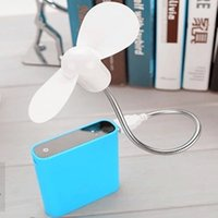 Wholesale 2pcs Stouch Mini Portable Cooler Rotating Fan Free bending USB Cooling Fan Cooler For Laptop Desktop PC notebook