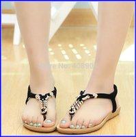 Wholesale Summer Bohemia Beads Sandals For Women Open Toe Flat Heel Beach Shoes Colors