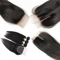 Wholesale Natural Color A Brazilian Straight Virgin Hair Pc Lace Top Closures Hair Wefts Bundles Human Hair Extensions Double Weft Weaving