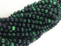 Wholesale dyeing beads green Tiger Eye mm Round Beads Semi precious Stone Loose Beads Gemstone Beads for DIY Fashion jewelry