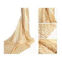 Wholesale New Fashion Sequins French Lace Fabric for Party Plain Embroidery Artwork Gold Net Lace for Women