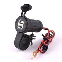 Wholesale 12 V Dual USB A Port Socket Motorcycle Waterproof Charger with cable for Phone PC iPad DHL
