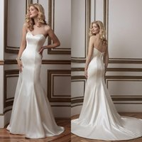 alexander design - Simple Design Stain Sweetheart Mermaid Wedding Dresses Justin Alexander Backless Covered Button Bridal Gowns Custom yo37