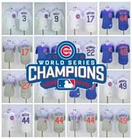 Wholesale 2016 World Series Champions Patch Chicago Cubs Jersey Kris Bryant Jake Arrieta Jason Heyward Addison Russell Anthony Rizzo Javier Baez