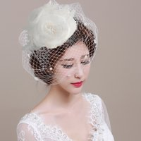 Wholesale Vintage Style Mesh Gird White Headdress for Wedding supplies with Pearl New Arrive