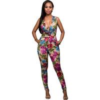 Wholesale Women Jumpsuit legant Rompers Fashion Bodysuit Sleeveless V neck Floral Print Romper Playsuits Long Pants Plus Size