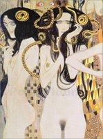 art dying - Genuine Handpainted Gustav Klimt Art Oil Painting On High Quality Canvas Leinwandbild Die Gorgonen in custom size chosen
