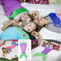 Wholesale Kids Mermaid Sleeping Bag Mermaid Tail Fleece Blankets Soft Handmade Wrap Mermaid Tail Costumes Bed Fish Snuggle in Shark Cocoon A157
