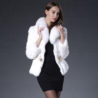 rabbit coat - Real rabbit fur jacket coat fox collar belt rex rabbit fur cape jacket black white brown fur overcoat real rabbit fur coat real fox collar