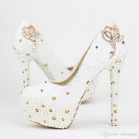 Wholesale 2016 women s fashion new white lace wedding shoes up heel platform shoes shallow mouth wedding pumps gold crystal Pumps