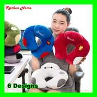 Wholesale Fedex Cartoon U Shaped Neck Travelling Pillows Lovely Plush Neck Support Big Size Adults Soft Head Rest Cushion Pillows
