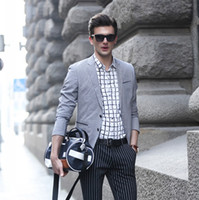 Reference Images men suit fashion - Fashion Grey Mens Suits Boys Street Shot Blazers Slim Fit Men Wedding Suits Blazers with Two Buttons Mens Casual Jacket Suits FS0027