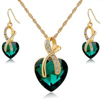 Wholesale Luxury La Mer Classic Heart Gemstone Necklace Earrings Jewelry Set Bridal wedding jewelry birthday party