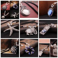 alloy deliver - Fashion Retro Black Beads Necklace solid ball Bauhinia starfish clover quality good quality imported diamond crystal pendant Free Deliver