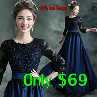 Wholesale 2016 New Cheap Prom Dresses Long Sleeves Jewel Appliques Sweep Train Modest Arabic Royal Blue Evening Party Occasion Gowns In Stock